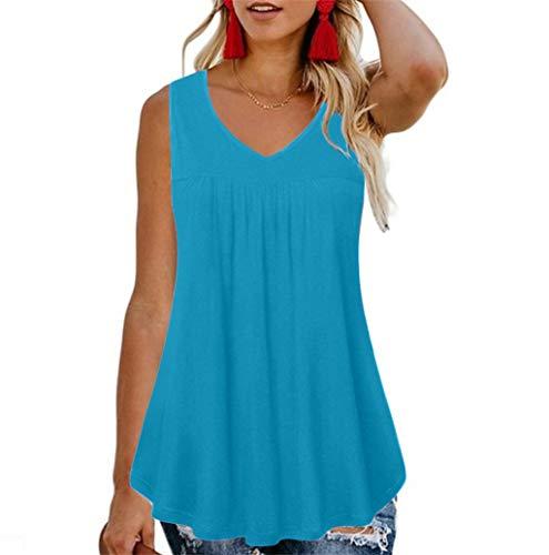 Damen Tops TWBB Frauen Ärmellose T-Shirt Sommer Falten Rundhals Oberteile T-Shirt Armellos Tops Tank Tops Oversize Einfarbig Basic Tops für Damen große größen