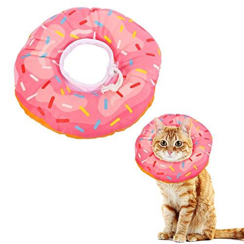 Xinzistar - Collar de Recuperación para Gatos con Cuello de Gato Suave y Protector Después de la Cirugía Ajustable para Curar el Cuello Cómodo Cono de Algodón (S, rosquilla rosa)
