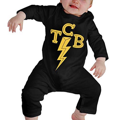 Cuteove Elvis-The King of Rock'n'Roll TCB Neugeborenes Mädchen Junge Kind Baby Body Langarm Kleinkind(6M,Schwarz)