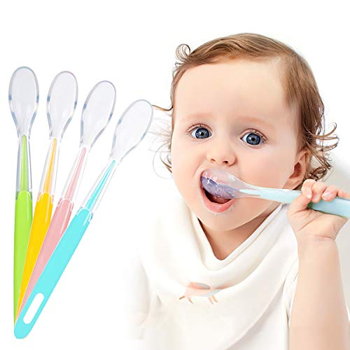 Cucharas Bebé, 7 stars 4 Piezas Cucharillas de Bebé de Siliconas Suaves, Cucharas de Alimentación para Bebé, Cuchillerías Antideslizante Ergonómicas a Niños Apartir de 4 Meses Set de Cucharas