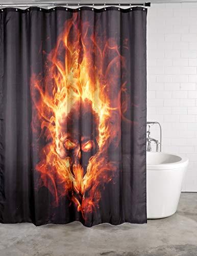 Duschvorhang Totenkopf in Flammen 180 x 200 cm, hochwertige Qualität, 100prozent Polyester, wasserdicht, Anti-Schimmel-Effekt, inkl. 12 Duschvorhangringe