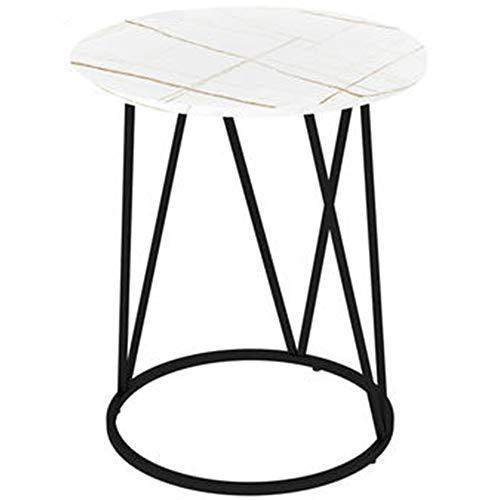 ZHIWUJIA Tavolino da Salotto Moderno Piano in Marmo Struttura in Ferro battuto Lusso Leggero e semplicità 50x50x60cm