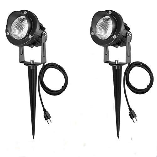 2er Set 7W LED Strahler Gartenstrahler Licht mit Erdspieß, mit Stecker, Led Garten Beleuchtung, Gartenleuchte, Gartenstrahler, Rasenstrahler, IP66 Wasserdicht für Outdoor Hof Rasen (Warmweiß 2 Stück)