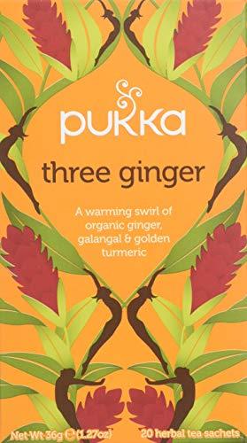 Pukka Three Ginger, Organic Herbal Tea with Galangal & Turmeric (4 Pack, Total 80 Tea bags)