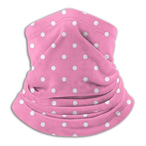 LREFON Pañuelo de Cuello con patrón de Puntos Rosados, pasamontañas para Hombres, Mujeres, protección contra el Polvo del Viento y el Sol