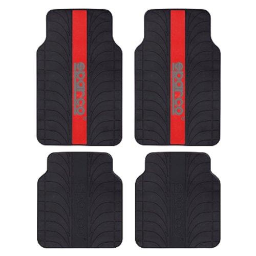 SPC SPC1913RS Juego de Alfombra Goma Color Franja Logo SPARCO Universal, Rojo/Negro, Set de 4