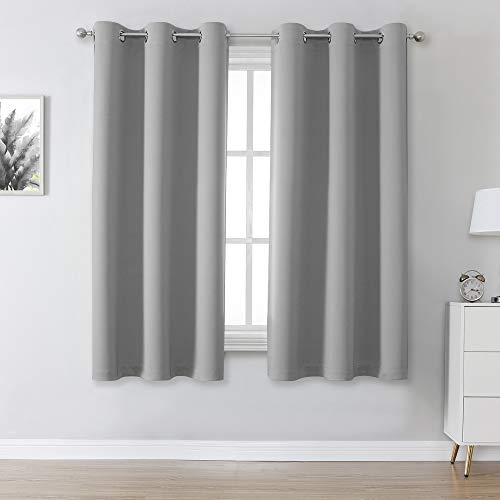 Light Grey Blackout Curtains Short Grommet Curtains 38 X 45 Inch Length Set of 2 Panels Thermal Insulated Solid Energy Efficient Room Darkening Bedroom Curtains