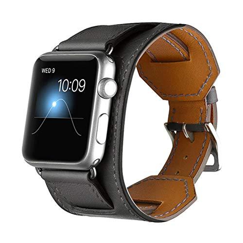 Cinturón de brazalete clásico para Apple Watch 42mm 38mm 40mm 44mm Band Correa de cuero para iWatch Series 6 SE 5 4 3 2 1Band-Black, Para 42MM 44MM