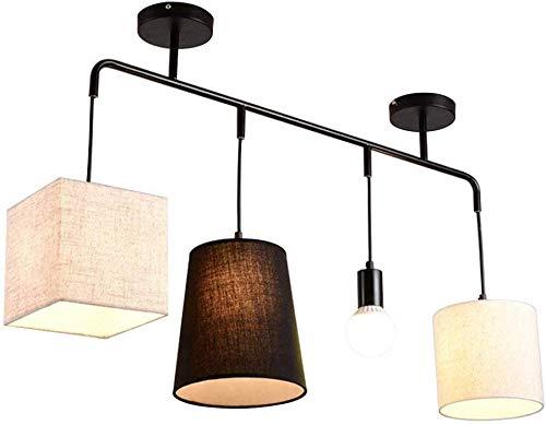 Moderne elegante plafondhanglamp met stoffen stoffen stoffen kap hanglamp 4 * E27 kroonluchter voor keukeneiland eetkamer tafel bar café kunst verlichting, a