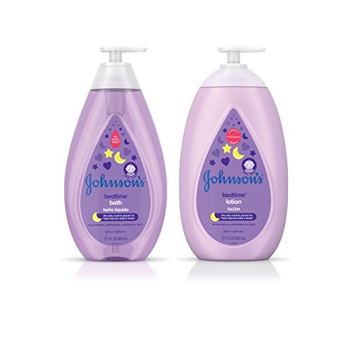 Johnson's Bedtime Baby Bath 27.1 fl. oz & Lotion 27.1 fl. oz Dual-Pack with Soothing NaturalCalm Aromas, Hypoallergenic & Paraben Free