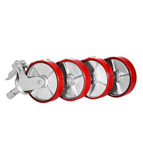 succebuy Gerüsten Rollen PU Set von 4Gerüsten Räder 800lbs Gerüst Caster Rad auf Eisen mit Bremse Lock