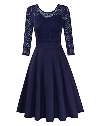 Clearlove Damen Kleider Elegant Spitzenkleid 3/4 Ärmel Cocktailkleid Rundhals Knielang Rockabilly Kleid(Verpackung MEHRWEG), Dunkelblau-3/4 Ärmel, XXL