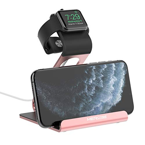 Apple Watch Stand, Mercase Aluminum NightStand iWatch &iPhone Desktop Stand Holder Charging Station for iWatch Series SE/6/5/4/3/2/1,iPhone 11/11Pro/11Max/Xs/X Max/XR/X/8/8Plus/7-Rose Gold
