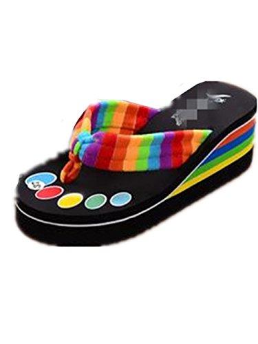 Boowhol Femme sandales à Talons Hauts Chaussures été Soft Pantoufles Flip-flops Tongs (Noir, 38 EU)