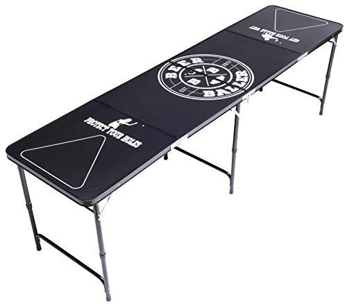 BeerBaller® ALLBLACK Beer Pong Tisch - schwarzes Gestell und Kratzfeste Oberfläche | Klappbarer Beer Pong Table mit Bällehalter und 6 Bier-Pong Bällen