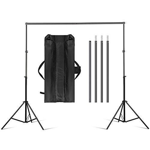amzdeal 2 x 3m Hintergrund Ständer, Hintergrundsystem für Fotostudio, Verstellbarer Stativ Höhe 70-200 cm, Breite 75-300 cm, Hintergrund Set für Porträt Video, mit Tragetasche
