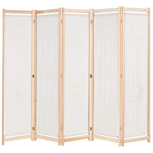 vidaXL Raumteiler 5-TLG. mit 8 Taschen Trennwand Paravent Spanische Wand