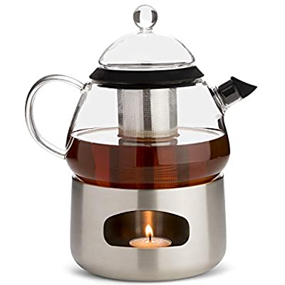 Elfin Glass Teapot with Infuser and Tea Warmer 28oz Loose Leaf Tea Pot Gift Set