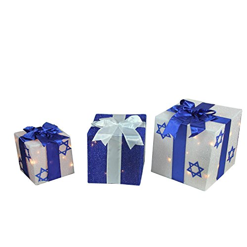 Northlight 3-Piece Lighted White and Blue Hanukkah Gift Box Yard Art Set Christmas Decorations,