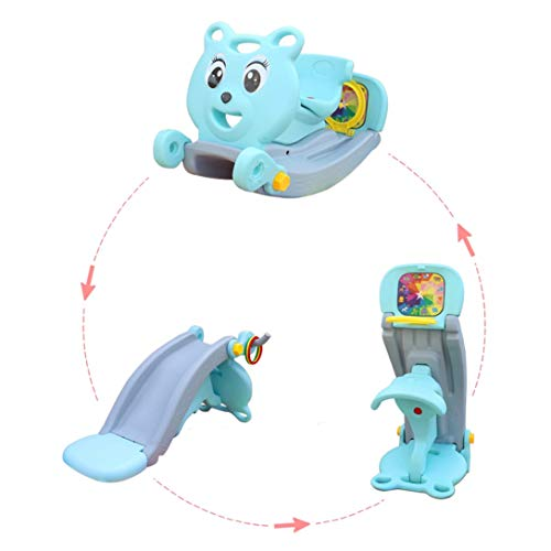 4-in-1 Toddler Slide & Rocking Toy, Lightweight Sturdy Portable Play Slide Toys Include Rocking Horse, Slide, Basketball Hoop, Magnetic Dart Board, Easy Set Up Baby Playset for Indoor Outdoor (Blue)