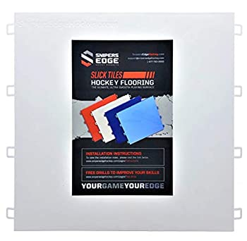 """Sniper s Edge Hockey Dryland Slick Tiles  20 White Squares  – Sized Right at 12"""" X 12""""Inch Per Tile  20 sq ft per Box  Premium Grade with Built to Last UV Coated Protection Made in USA"""