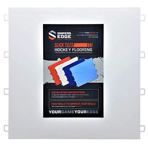 "Sniper's Edge Hockey Dryland Slick Tiles (20 White Squares) – Sized Right at 12"" X 12""Inch Per Tile (20 sq ft. per Box), Premium Grade with Built to Last UV Coated Protection, Made in USA"