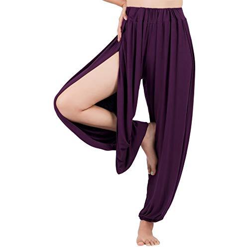 Lofbaz Yoga Harem Pantalones para Mujer Boho Dance Joggers Mujer PJs Lounge Ropa Ropa de Maternidad Genie Hippie Beach Púrpura M