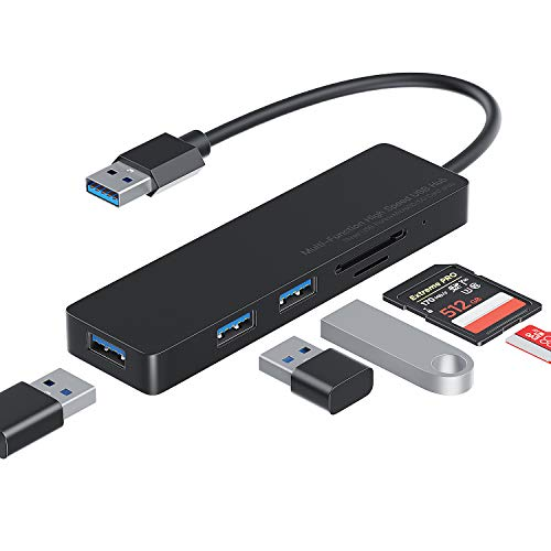 USB HUB 3.0 Mehrfachstecker Multiport USB Verteiler mit 3 USB 3.0 Splitter Port,SD/TF Card Reader Kompatibel mit MacBook Mini,iMac,Huawei MateBook,Windows Laptops und Ultrabooks,PC