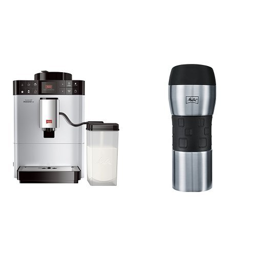Melitta F53/1-101 Platzsparender Kaffeevollautomat Caffeo Passione One Touch, Milchbehälter, Silber + Melitta 206056 IsolierTrinkbecher