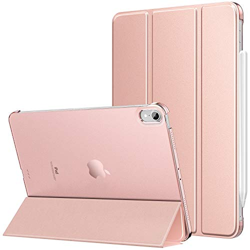 MoKo Case Fit New iPad 10.8' 2020 - Slim Lightweight Smart Shell Stand Cover with Translucent Frosted Back Protector Fit iPad 10.8-inch Tablet, with Auto Wake/Sleep, Rose Gold