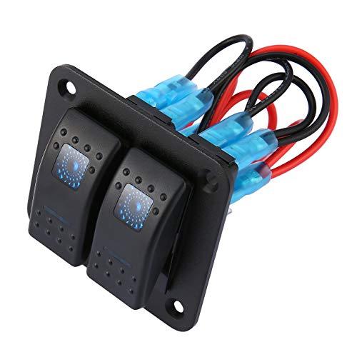 Ashley GAO Panel de interruptor basculante de CC 12 V 24 V de 2 bandas con doble LED impermeable, interruptor basculante panel de control para coche, barco marino