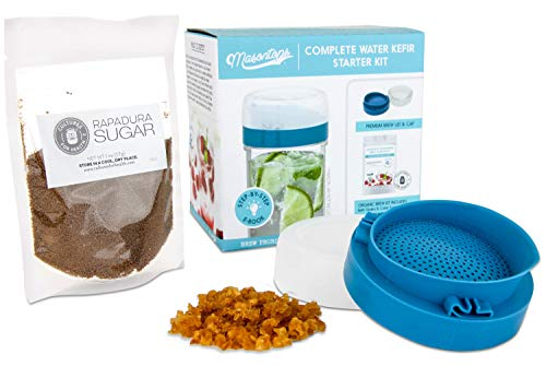 Masontops Complete Kefir Making Starter Kit - With Plastic Strainer Cap, Starter Fermentation Grains & Specialty Sugar