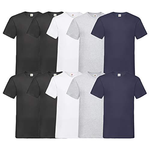 Fruit of the Loom 10 T Shirts V-Neck M L XL XXL V-Ausschnitt Diverse Farben -HL-Kauf (3XL, 4Schwarz2Weiß2Grau2Navy)
