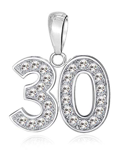 LSDesigns 30 Charm - S925 Sterling Silver Bead fits Pandora Charms for Women Moments Snake Chain Bracelet Happy Birthday 30th