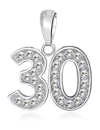 LSDesigns 30 Feliz cumpleaños Charm Abalorios para Mujer Pandora Charm Pulsera - Plata de Ley 925 dijes con circonita Blanco - 30 º