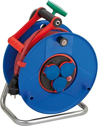 Brennenstuhl Garant ROL'UP Bretec IP44 Gewerbe-/Baustellen-Kabeltrommel, 40m - Spezialkunststoff (Baustelleneinsatz und kurzfristiger Einsatz im Außenbereich, Made in Germany) blau