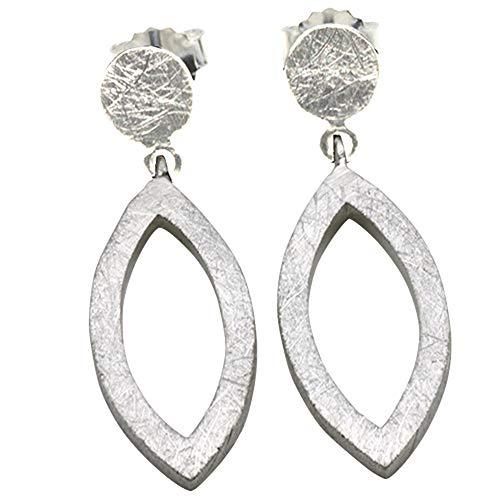 Mat zilveren oorbellen hoogwaardig goudsmeedwerk uit Duitsland (Ssterling zilver 925) lichte oorbellen dames steker
