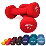 diMio 1,0 kg Neopren Gymnastik Hanteln im Doppelpack, Soft-Grip, für Fitness, Ausdauertraining und...