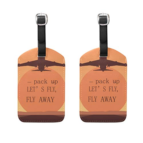 LINDATOP Let S Fly Away - Etiquetas de viaje para maleta (2 unidades)