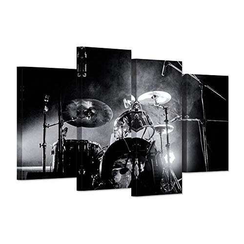 iHAPPYWALL Music Series 4 Piece Wall Artwork Rock Band Shelf Drum Set With Lights In Black And White Background Modern Home Decor for Living Room Bedroom