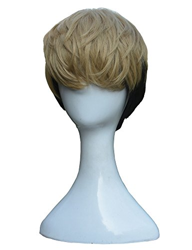 Xingwang Queen Anime Cosplay Wig Men Boys' Short Mixed Blonde Black Hair Cosplay Wig Halloween Christmas Party Wigs