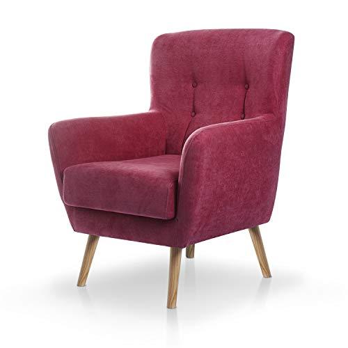 SUENOSZZZ-ESPECIALISTAS DEL DESCANSO Butaca nórdica Izan de una Plaza, sillón tapizado en Tela Antimanchas Color Rojo