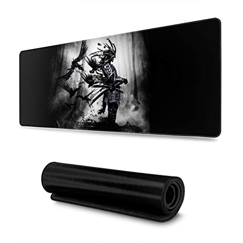 The Spirit of Japanese Samurai Bushido Gaming Mouse Pad, Long Extended XL Mousepad Desk Pad, Large Non-Slip Rubber Mice Pads Stitched Edges, 31.5'' X 11.8''