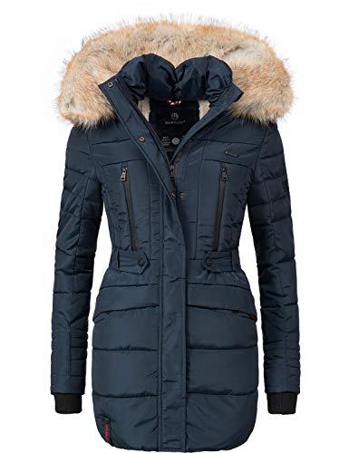 Marikoo Damen Winter Mantel Steppmantel Nova (vegan hergestellt) Blau Gr. L