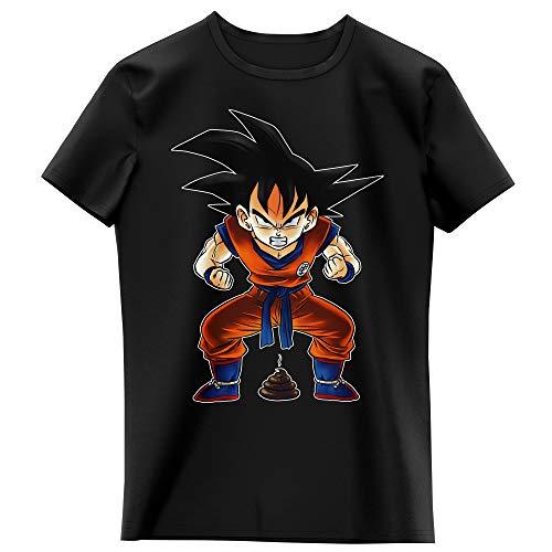 Okiwoki T-Shirt Enfant Fille Noir Parodie Dragon Ball Z - DBZ - Sangoku - Super Caca - Vol.1 (T-Shirt Enfant de qualité Premium de Taille 13-14 Ans - imprimé en France)