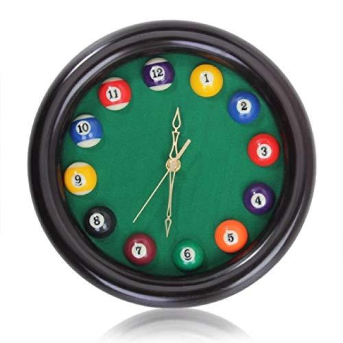 hufeng Reloj de pared circular de madera billar mesa de billar bola de pared reloj de cuarzo sala decoración