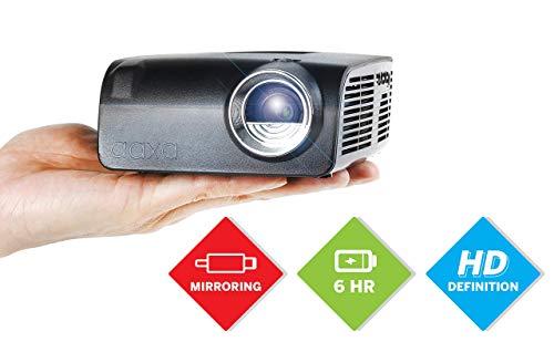 AAXA S2 Mini LED Projector, USBC Smartphone Laptop Mirroring, 6 Hour Battery, 720p HD Native Resolution (Support 1080p) Portable Projector, Keystone, HDMI, USB, Onboard Media Player, DLP (Renewed)