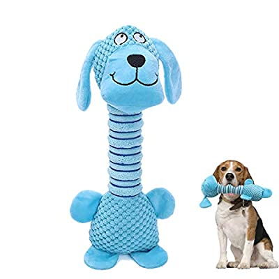 Plush Dog Toys with Long Neck, Interactive Dog Squeaky Toys, Durable Chew Toys for Teeth Cleaning Long Stuffed Animals Dog Training Toys for Puppy Small Medium Dogs (Blue Dog)