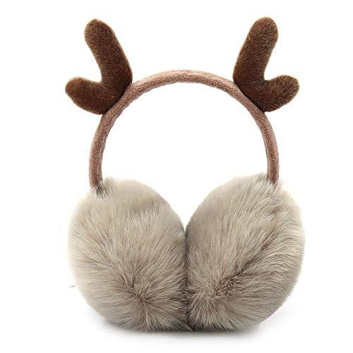 Peakpet Ohrenschützer Damen Mädchen Winter Plüsch Ohrenwärmer warm und weich Plüsch Earmuffs komfortable Winddicht Ohrenwärmer mit süß Horn Geschenk (Khaki)