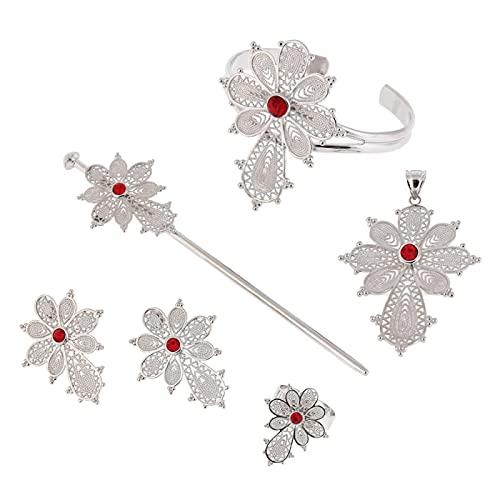 Juego de joyas de plata y rubí azul con forma de cruz Etiopía con pasador para el pelo, oro blanco Habesha